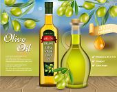 Olive Oil Advertising Template. Vector Realistic Olive Oil Glass Bottle And Jug With Olive Branches  poster
