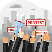 Protest, The Concept Of Protest, The Hand Raised In Protest. Flat Design, Vector Illustration, Vecto poster