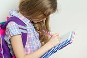 Girl Child Elementary School Student Wearing Glasses With A Backpack Writing In Her Notebook. Bright poster