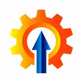 Vector Logo Design Of Gear With Arrow Up Inside The Gear. Power Up Gear Logo poster