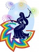 stock photo of dhol  - garba dancer rainbow fireworks - JPG