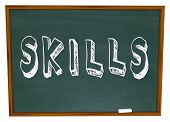 Learn New Skills Word on Chalkboard encouragement to take training course to improve yourself and su