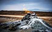 Burning gas in the mud volcanoes of Gobustan, Azerbaijan poster