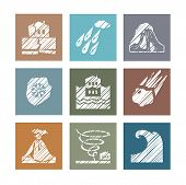 Weather, Natural Disasters, Colored Icons, Hatching, Vector. Images Of Various Natural Disasters. Ve poster