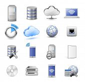 Big collection of IT devices and computing icons. 16 highly detailed vector icons. Servers, database