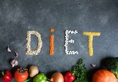 Concept Diet - Healthy Food With Organic Food On A Dark Gray Marble Background. Healthy Food Concept poster