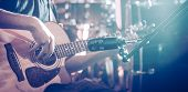 The Studio Microphone Records An Acoustic Guitar Close-up. Beautiful Blurred Background Of Colored L poster