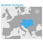 Vector Illustration With Map Of The Austro Hungarian Empire poster