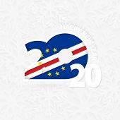 Happy New Year 2020 For Cape Verde On Snowflake Background. Greeting Cape Verde With New 2020 Year. poster