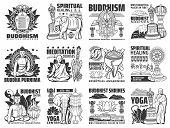 Buddhism Vector Icons, Yoga Center And Meditation Courses Signs. Buddha Stupa Shrines, Religious Sym poster