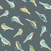 Cute Vintage Seamless Vector Bird Pattern. All Over Print With Sitting Bird, All Over Print, Retro H poster