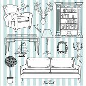 Set of furniture icons, Living Room Furniture Home Interior Design