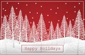 Vector Illustration Of Landscape With White Pine Trees On Snow Hill And Happy Holidays Text On Red S poster