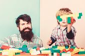 Father Son Game. Father Son Create Constructions. Father And Boy Play Together. Dad And Kid Build Pl poster