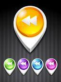 vector backward button 3d style icon