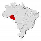 Map Of Brazil, Rondônia Highlighted