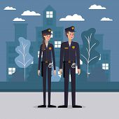 Policeman And Policewoman At The City Design, Working Occupation Person Job Corporate Employee And S poster