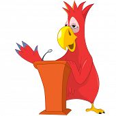 Cartoon Character Funny Parrot Isolated on White Background. Presentation. Vector EPS 10.