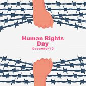 Human Rights Day. Landing Page Template, Banner With Text For Human Freedom Day. Celebration Decembe poster
