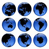 stock photo of world-globe  - rasterized pseudo 3d vector globe views - JPG