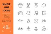 Set Fitness Tracker Simple Lines Icons Of Sport Equipment. Concept Collection Modern Symbols For Hea poster