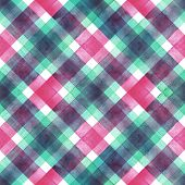 Watercolor Diagonal Stripe Plaid Seamless Texture. Colorful Green And Pink Stripes Background. Water poster