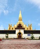 Golden Pagada In Pha-that Luang Temple, Vientiane, Travel In Laos.