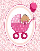 Little Girl, Africa, Postcard, Floral Background, Vector. A Little Girl In A Pink Stroller. A Pink B poster