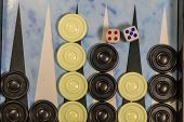 Game Field In A Backgammon With Dice And Checkers. Game Concept. Board Game poster