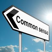 image of senses  - Illustration depicting a road traffic sign with a common sense concept - JPG