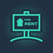 Green Hanging Sign With Text For Rent Icon Isolated On Blue Background. Signboard With Text For Rent poster