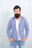 Self Confidence. Well Groomed Guy. Brutal Handsome Hipster Man Grey Wall Background. Bearded Man Tre poster