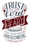 Hand Lettering With Bible Verse Trust In The Lord With All Your Heart . poster