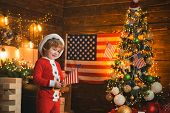 Merry Christmas In America. Child Celebrate New Year In America. Santa Helper With American Flag. Ch poster