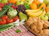 stock photo of healthy food  - Assortment of fresh fruit and vegetables ham and pastry - JPG