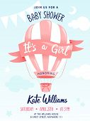 Baby Shower Concept. Cute Air Balloon With Decorations And Place For Text. Girl Baby Shower Or Nurse poster