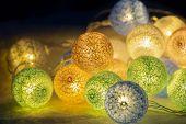 Led Light For Decoration Antique. Led Light Bulbs Vintage Style. Close Up Led Light Bulbs Decoration poster