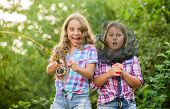 We Have Caught It. Kids Spend Time In Camp. Having Fun. Fish Angler. Two Girls Fishing. Big Game Fis poster