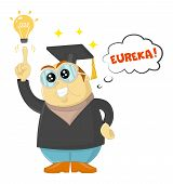 Funny Vector Teacher Or Scientist Having A Eureka Moment. Genius Student, University Education And F poster