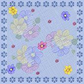 Square Flower Arrangement. Vintage Floral Pattern For Printing On Scarves, Postcards, Carpets, Banda poster