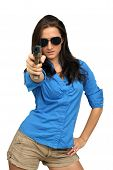 Beautiful Brunette With A Handgun