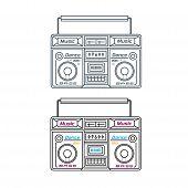 Set Of Retro Tape Recorders .music Technology .retro Audio Set poster