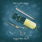 Hairdressing Scissors, Comb, And Clipper On A Dark Background. Happy New Year And Merry Christmas. G poster