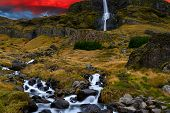 Idyllic Stream Flowing From The Impressive Bjarnafoss Waterfall In Snaefellsnes Peninsula Iceland On poster