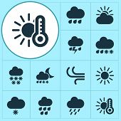 Climate Icons Set With Snowfall, Drizzle, Heavy Rain And Other Snowflake Elements. Isolated Vector I poster