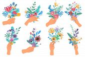 Hands Holding Bouquets. Colorful Floral Bundle Bouquets In Hands, Decorative Blooming Gifts Elegant  poster