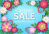 Spring Sale With Paper Flowers. Colorful Floral Promotion Poster, Magazine And Web Site Advertising  poster
