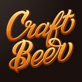 Vector Craft Beer Typography. Lettering With Beer Color And Bubbles. Pub Advertising. Vector Vintage poster