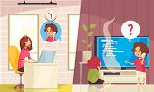 Call Center Remote Technical Support Service Flat Composition With Emergency Children Call And Opera poster