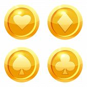 Set Game Coins Card Suits Of Clubs, Hearts, Diamonds, Spades Gold Icon, Game Interface, Gold Metal.  poster